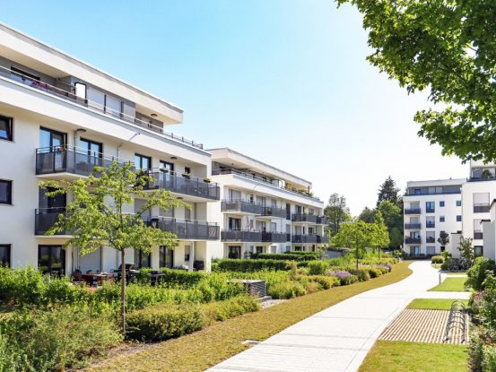 residential-area-with-apartment-buildings-in-the-city-picture-id1161036960